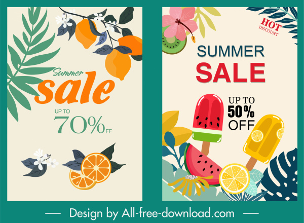 summer sale poster templates colorful fruits ice cream