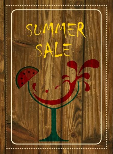 summer sales banner brown wooden background watermelon decoration