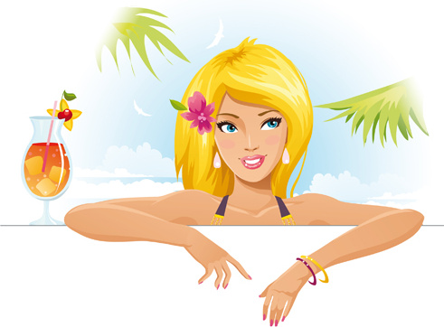 summer sexy girls vector graphic set