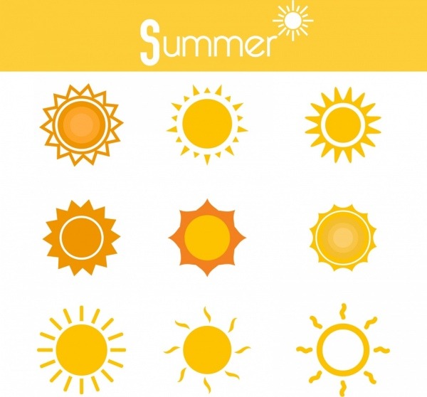 summer sun icons various yellow circles isolation