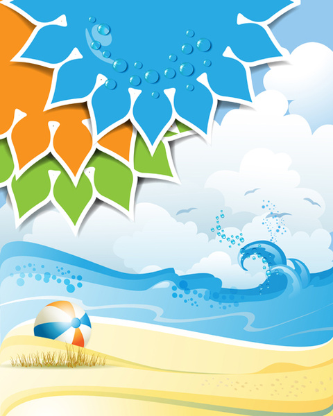 Summer sunny vector backgrounds Free vector in Adobe Illustrator ai