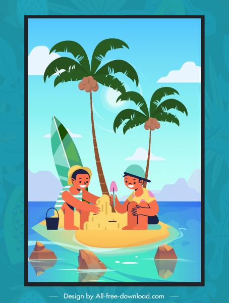 summer time background playful kids sea scene sketch