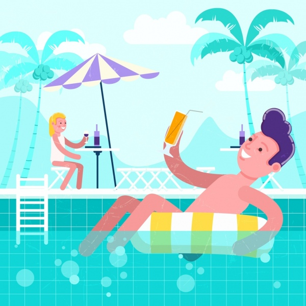 summer time background relaxed people swimming pool icons