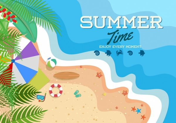 summer time banner beach seaside icons