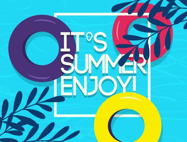 summer time banner buoy leaf icons water backdrop