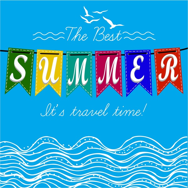summer time banner with sea and texts illustration