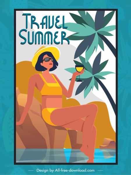 summer travel banner relaxing bikini lady sketch