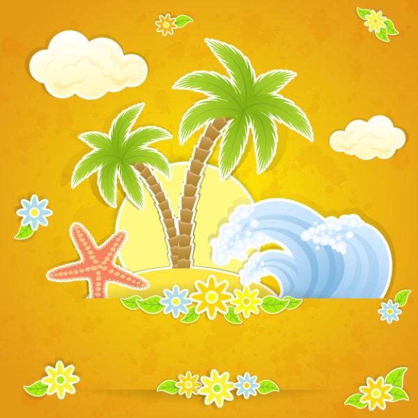 summer travel in tropical design elements vector