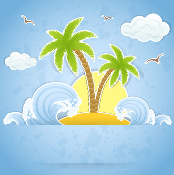 summer travel in tropical design elements vector
