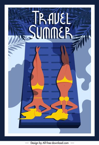 summer travel poster sunbathing women sketch classic design
