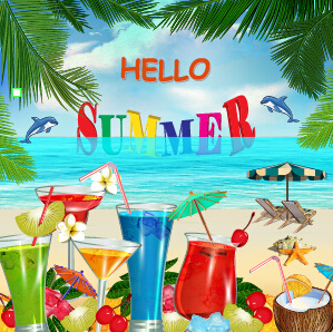 summer travel with fruit drink vector background