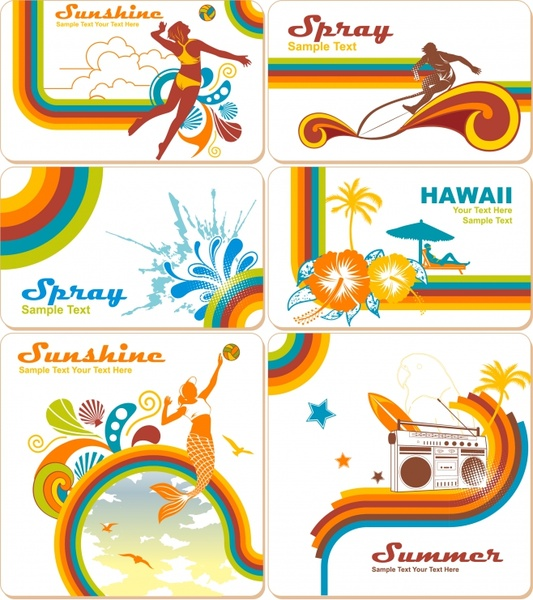 card templates summer theme sport tourism activities decor