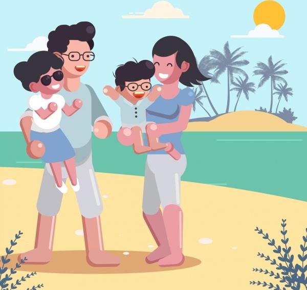 summer trip background joyful family sea icons decor