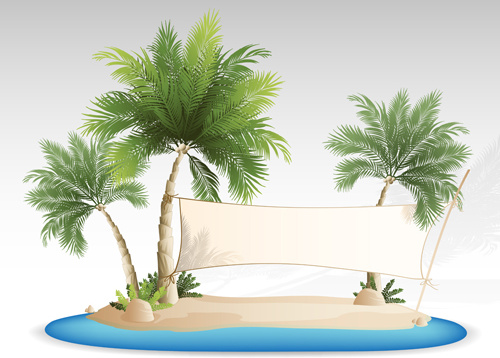 summer tropical island travel background vector
