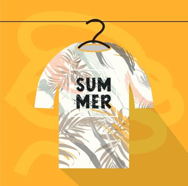 summer tshirt template leaf icon sketch