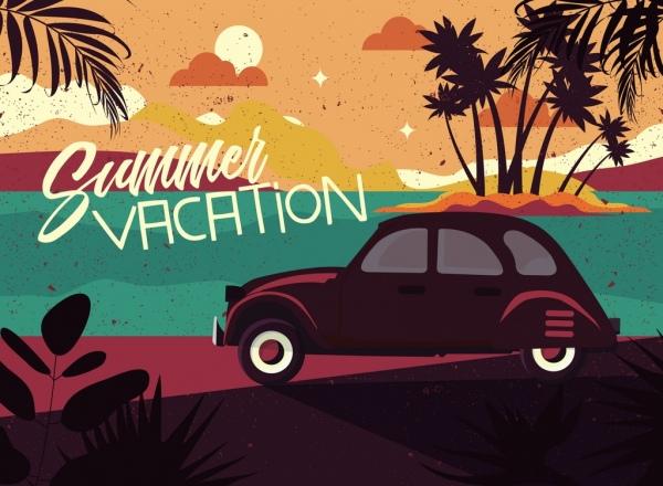 summer vacation background sea car icons retro design