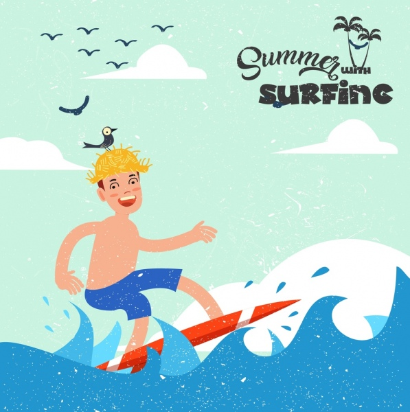 summer vacation banner boy surfing icons colored cartoon