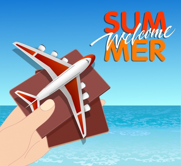 summer vacation banner sea airplane passport icons decor