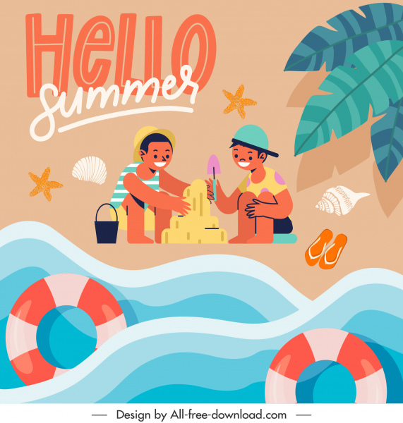 summer vacation banner sea playful kids ketch