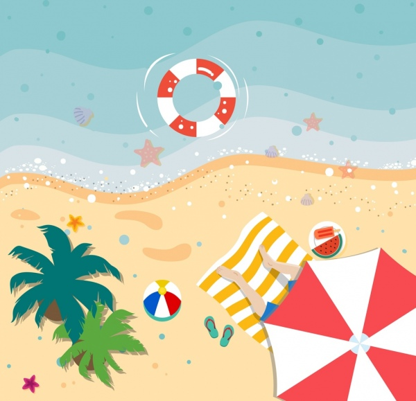 summer vacation drawing beach scenery high view