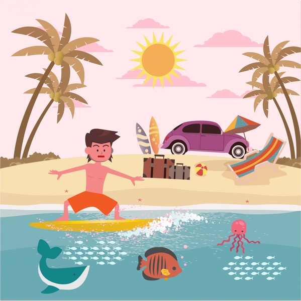 summer vacation on sea drawing with joyful man