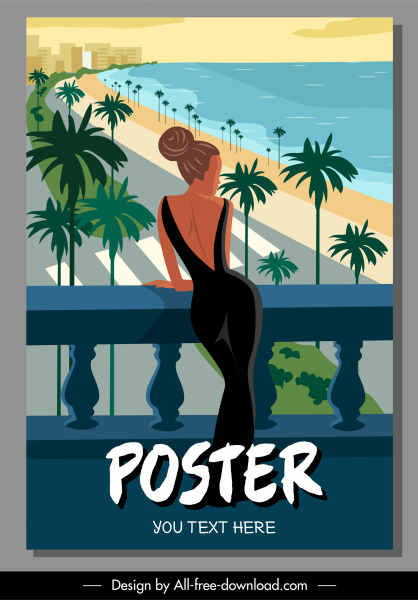 summer vacation poster sea scene attractive lady sketch
