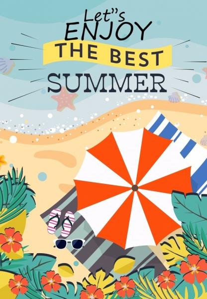 summer vacation poster seaside umbrella icons colored cartoon