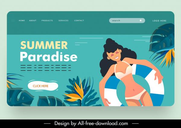 summer vacation webpage template bikini girl flowers sketch