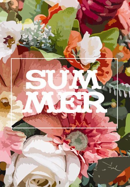 summer watercolor flower background art vector