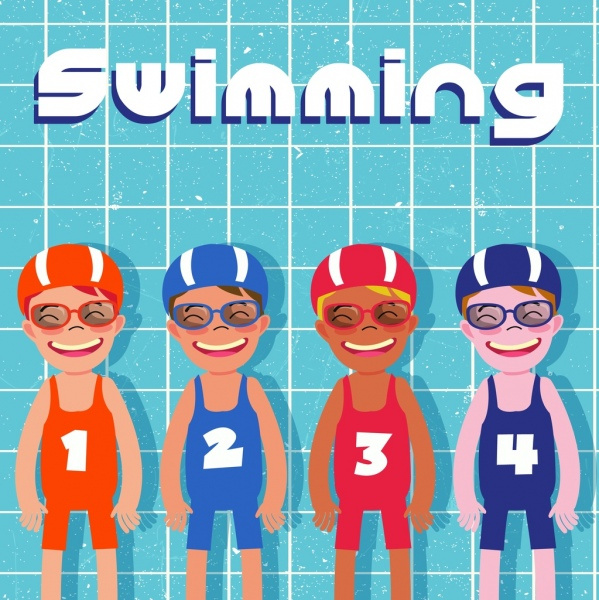 summertime background happy kids in swimsuit icons