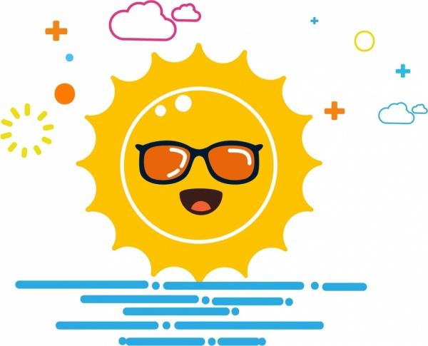 sun background cartoon stylized design