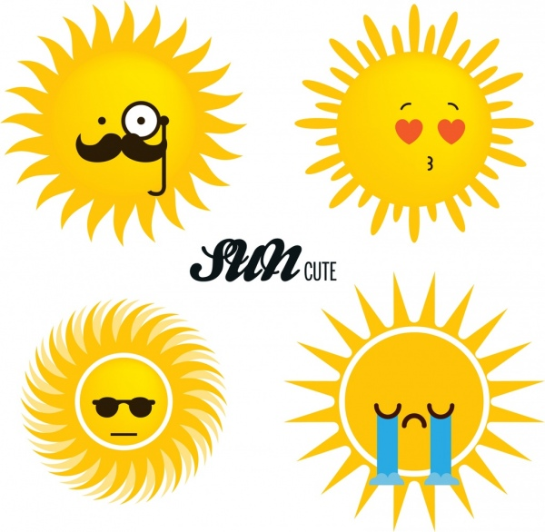 sun icons sets cute cartoon style various emotion