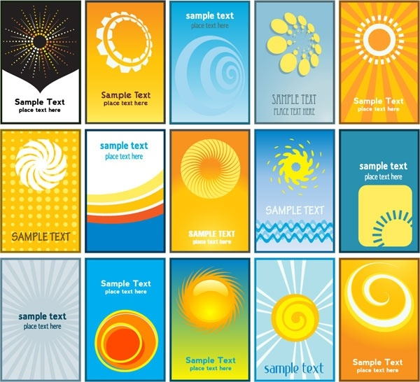 sun theme card business card background vector