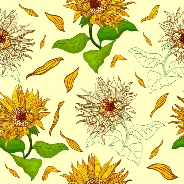 sunflowers background repeating multicolored icons sketch
