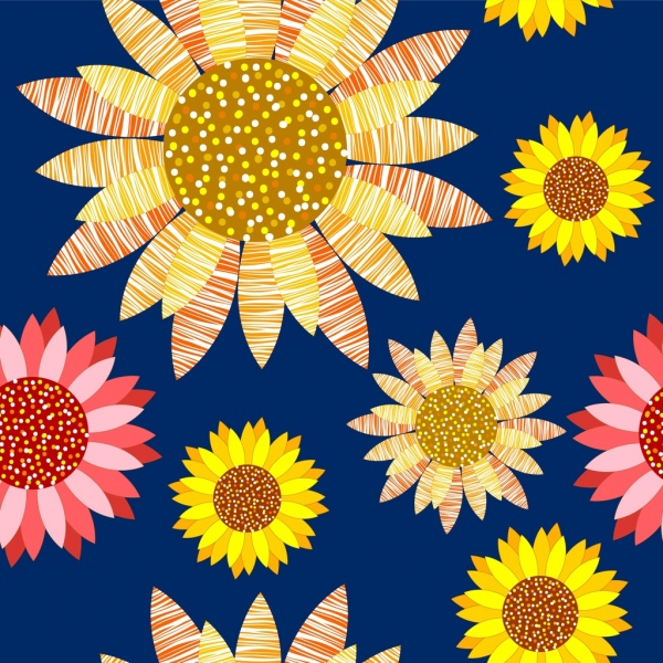 sunflowers background various multicolored flat icons