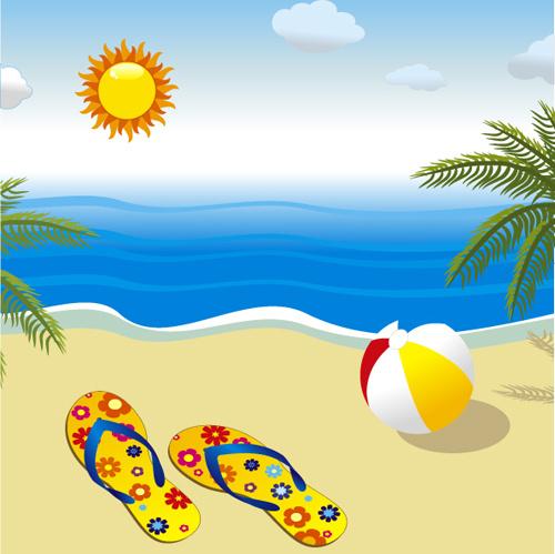 sunny beach design vector background