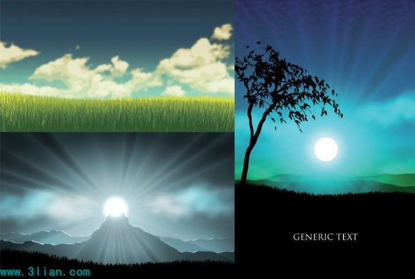 landscape background templates colored modern sunrise meadow icons