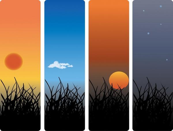 landscape background sets twilight theme vertical closeup design
