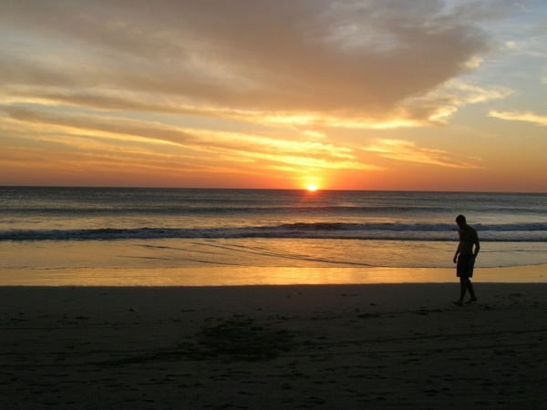 sunset beach sand