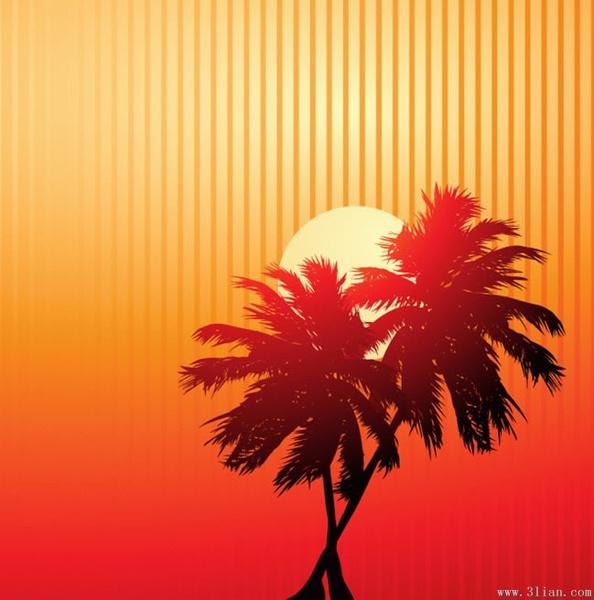 sunset background sun coconut tree icons dark design