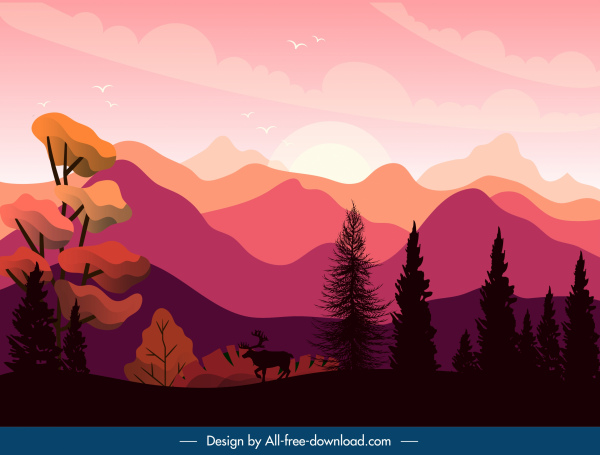 sunset scenery painting wild mountain sketch dark classic