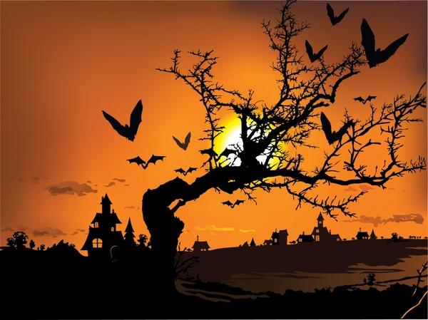 halloween background dark sunset castle bats tree icons decor
