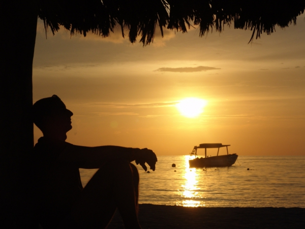 Lonely Man Relaxing By Beach At Sunset Free Stock Photos In