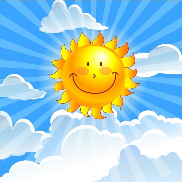 Sunshine background colored cartoon design stylized sun ...
