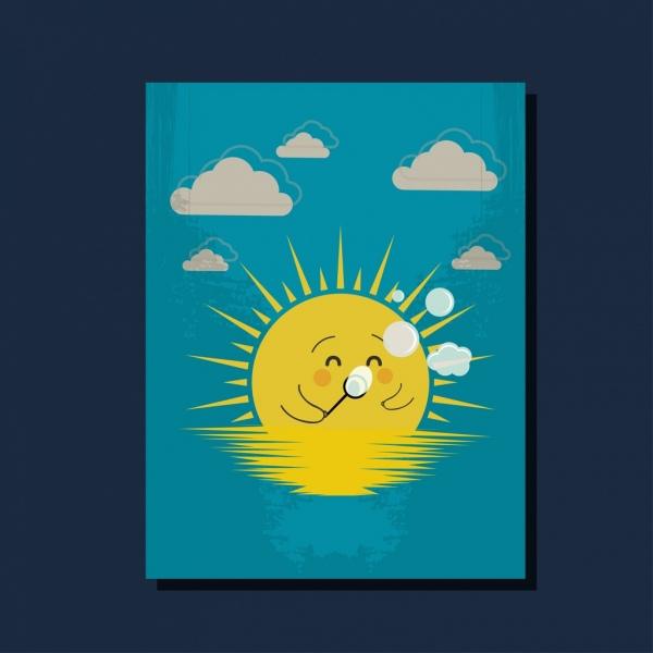 sunshine background cute stylized cartoon style