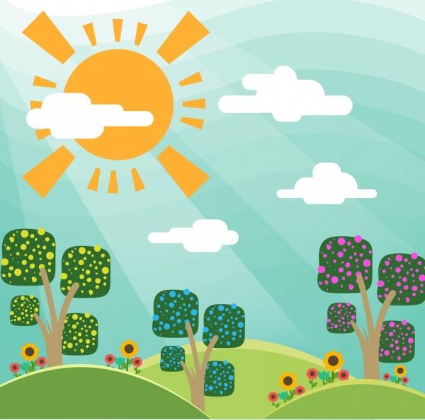sunshine landscape drawing colorful cartoon style
