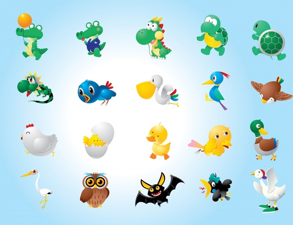 animal icons modern colorful design cute cartoon characters