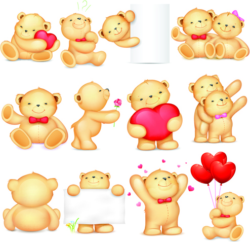 Variety of cute teddy bears vector | free download.