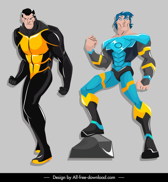 super hero icons colored cartoon characters sketch