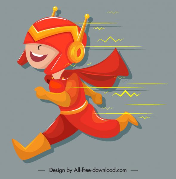 superhero kid icon running gesture funny cartoon sketch